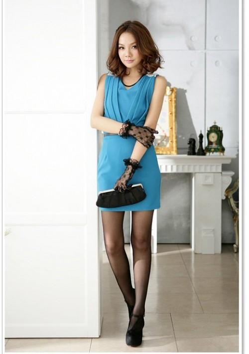 Elegantes Businesskleid in Blau mit Raffungen - günstig bei VIP Dress