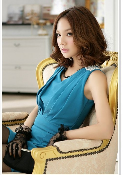 Elegantes Businesskleid in Blau mit Raffungen - bei vipdress.de günstig shoppen