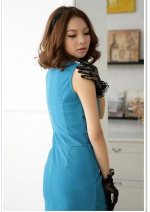 Elegantes Businesskleid in Blau mit Raffungen - schnell und günstig bei VIP Dress