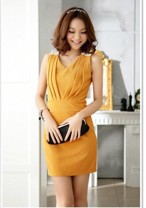 Elegantes Cocktailkleid in Gelb mit Raffungen - bei vipdress.de günstig shoppen