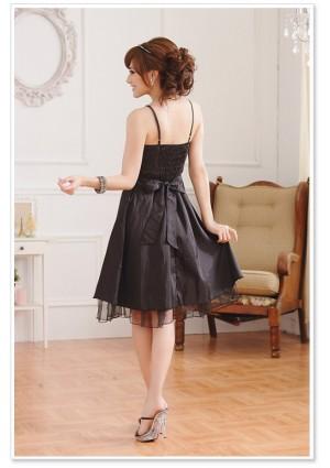 Satin Abendkleid mit Pailetten in Schwarz - günstig bestellen bei VIP Dress