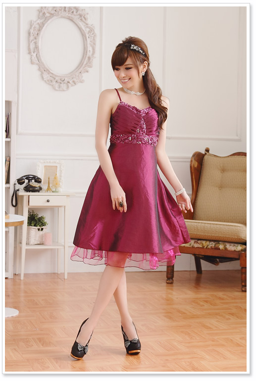 Abendkleid in Rot mit Pailletten günstig online kaufen ❤