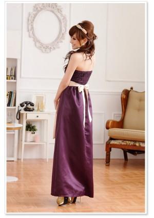 Langes Satin Abendkleid in Lila mit heller Schleife - online bestellen bei vipdress.de