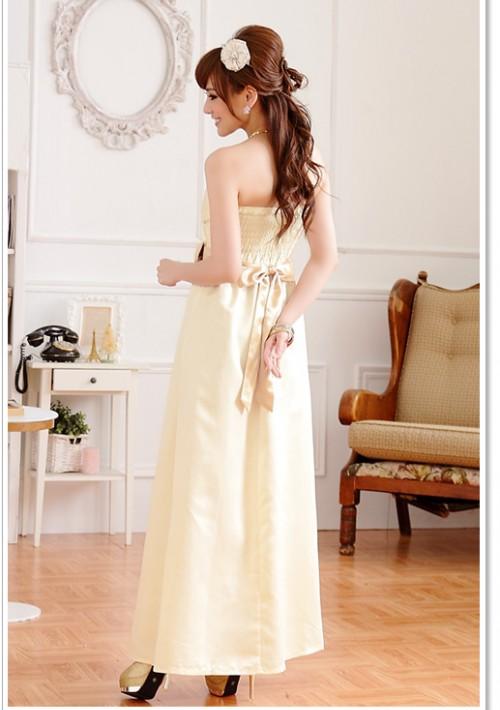 Beiges Satin Abendkleid mit Schleifen  - bei VIP Dress online bestellen