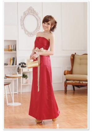 Rotes Abendkleid aus Satin mit heller Zierschleife - günstig bestellen bei VIP Dress