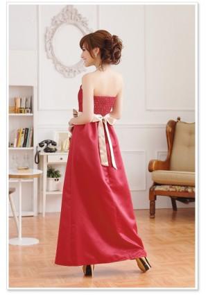 Rotes Abendkleid aus Satin mit heller Zierschleife - schnell und günstig bei VIP Dress