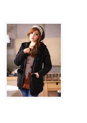 Jacke / Mantel mit Kapuze in Schwarz  - bei VIP Dress online bestellen