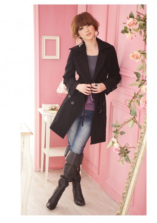 Eleganter Damenmantel in Schwarz  - bei VIP Dress online bestellen