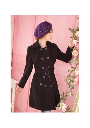Eleganter Damenmantel in Schwarz  - bei VIP Dress günstig kaufen