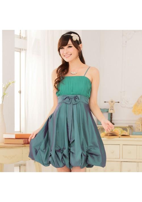 Ballonlook Abendkleid aus Satin in Grün - hier günstig online bestellen
