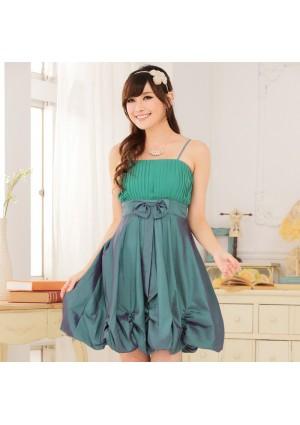 Ballonlook Abendkleid aus Satin in Grün - online bestellen bei vipdress.de