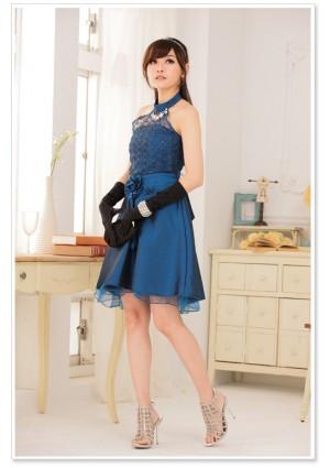 Blaues Satin Abendkleid mit Spitzen - günstig shoppen bei vipdress.de