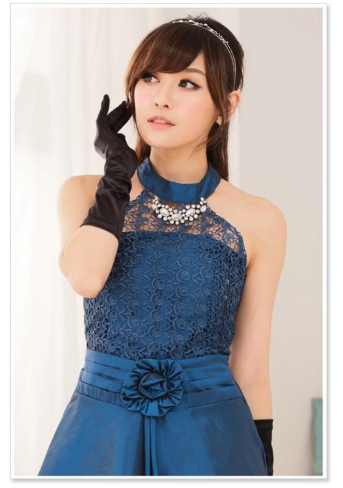 Blaues Satin Abendkleid mit Spitzen - günstig kaufen bei vipdress.de