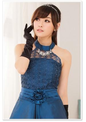 Blaues Satin Abendkleid mit Spitzen - online bestellen bei vipdress.de