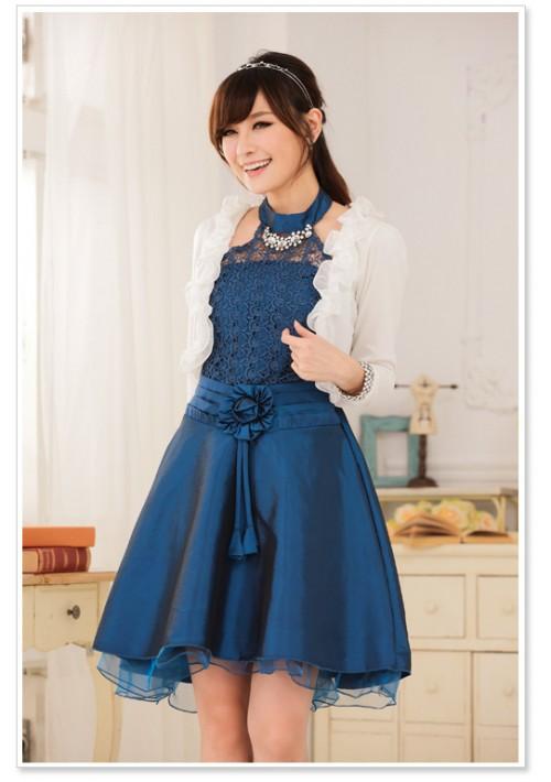 Blaues Satin Abendkleid mit Spitzen - schnell und günstig bei VIP Dress