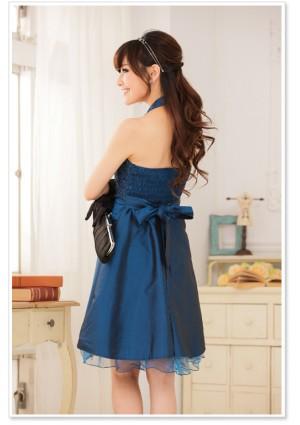 Blaues Satin Abendkleid mit Spitzen - bei VIP Dress online bestellen