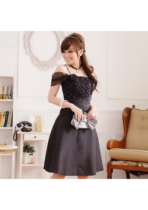 Schwarzes Satin Abendkleid im eleganten Look - günstig bestellen bei VIP Dress