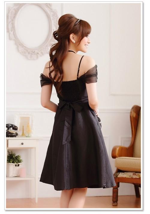 Schwarzes Satin Abendkleid im eleganten Look - bei VIP Dress günstig kaufen