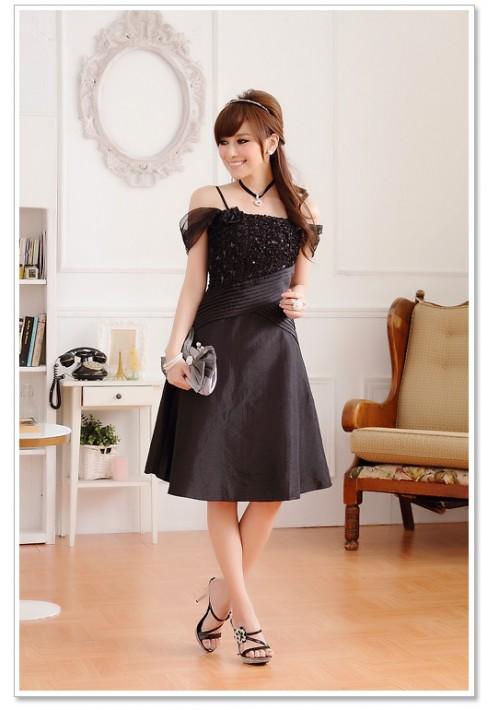 Schwarzes Satin Abendkleid im eleganten Look - günstig kaufen bei vipdress.de