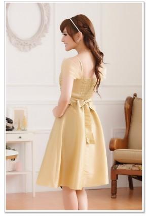Beiges Abendkleid aus Satin - bei VIP Dress online bestellen