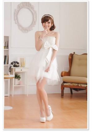 Weißes Cocktailkleid mit Stickereien aus Chiffon und Tüll - bei VIP Dress günstig kaufen