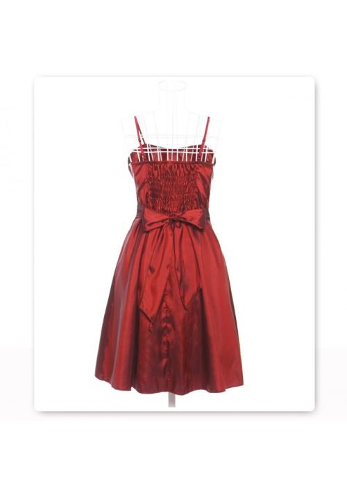 Satinkleid in Rot mit Dekoblume - bei VIP Dress günstig kaufen