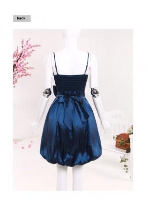 Satin-Ballkleid in Blau mit Ballonrock und Schleife - günstig bestellen bei VIP Dress