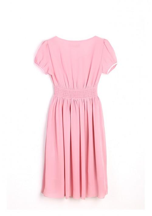 Chiffonkleid im Vintage-Stil in Rosa - günstig shoppen bei vipdress.de