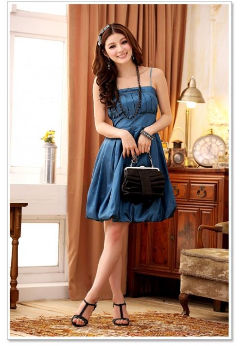 Filigran gestaltetes Cocktailkleid mit Raffung in Blau - bei VIP Dress günstig kaufen