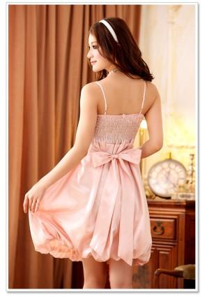 Cocktailkleid mit Tulpenrock aus rosa Satin - bei vipdress.de günstig shoppen