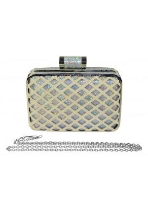 Eckige Clutch im Silber-Style - bei vipdress.de günstig shoppen