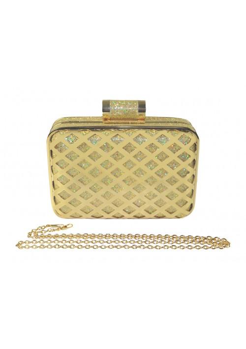 Eckige Clutch in elegantem Gold - günstig bei VIP Dress