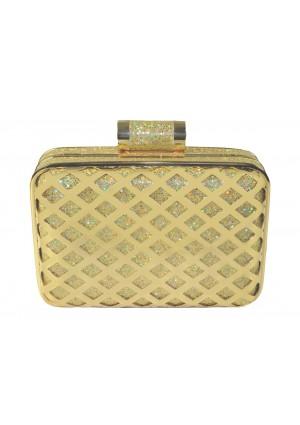 Eckige Clutch in elegantem Gold -