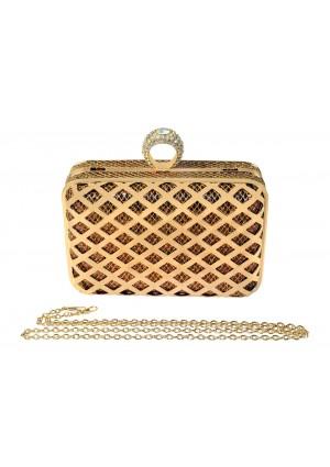 Goldfarbene Clutch mit Ringverschluss - günstig bei VIP Dress