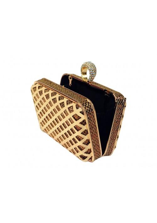 Goldfarbene Clutch mit Ringverschluss - schnell und günstig bei VIP Dress