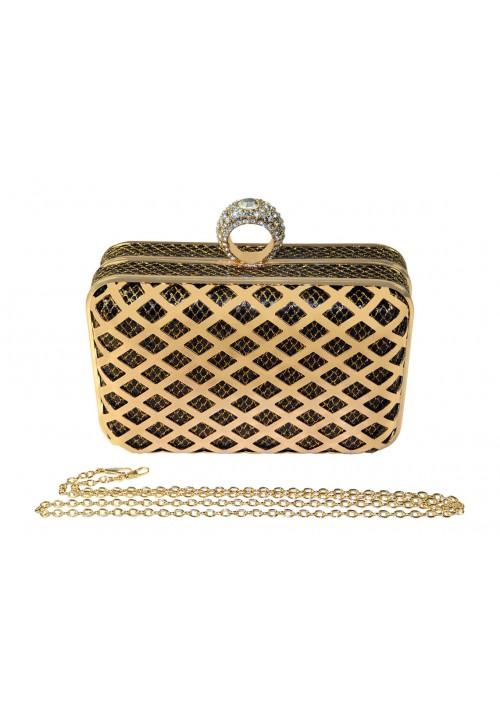 Boxförmige Hartschalen Clutch in Gold-Schwarz mit Schmucksteinen - bei vipdress.de günstig shoppen