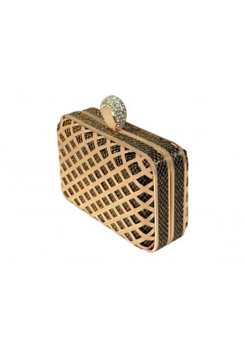Boxförmige Hartschalen Clutch in Gold-Schwarz mit Schmucksteinen - günstig kaufen bei vipdress.de