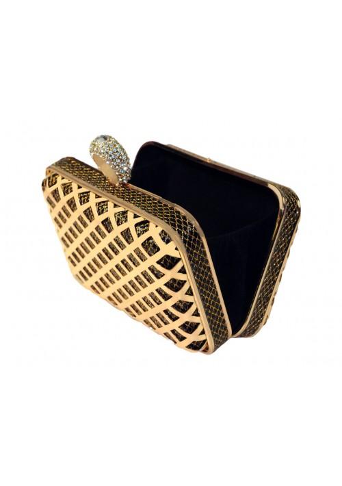 Boxförmige Hartschalen Clutch in Gold-Schwarz mit Schmucksteinen - günstig bestellen bei VIP Dress