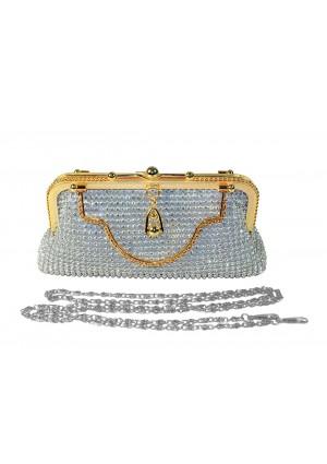 Silberne Abendtasche von erlesenem Design - online bestellen bei vipdress.de