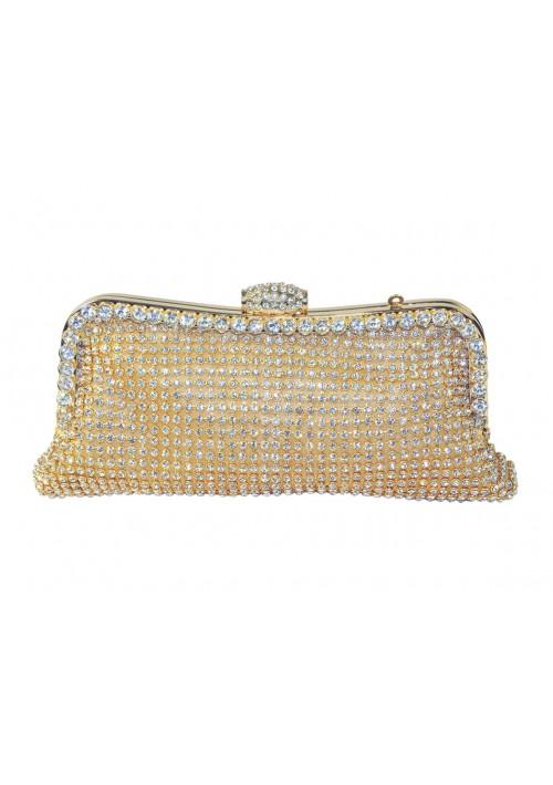 Längliche Clutch in Gold mit Clipverschluß und Schmucksteinen - schnell und günstig bei VIP Dress