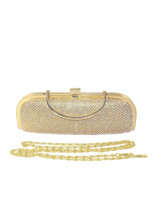 Längliche Clutch in Gold mit Henkel und Schmucksteinbesatz - günstig bei VIP Dress