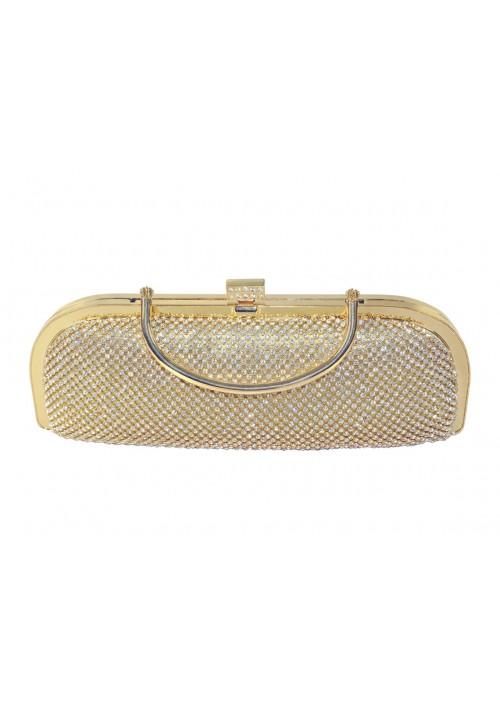 Längliche Clutch in Gold mit Henkel und Schmucksteinbesatz - bei VIP Dress günstig kaufen