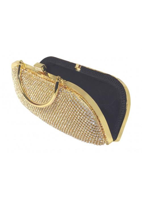 Längliche Clutch in Gold mit Henkel und Schmucksteinbesatz - schnell und günstig bei VIP Dress