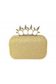 Hartschalen Clutch in Gold mit Zacken, Schlagringgriff und Tragekette