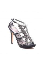Schwarze High Heels mit Strass-Steinen