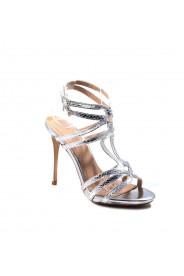 Silberfarbene High Heels aus Lederimitat