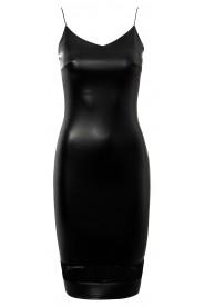 Schwarzes Cocktailkleid aus Kunstleder