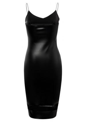Schwarzes Cocktailkleid aus Kunstleder  - günstig bei VIP Dress