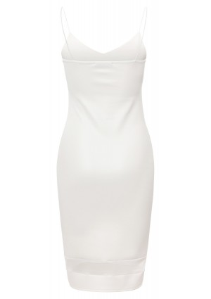 Weißes Cocktailkleid aus Kunstleder - bei VIP Dress günstig kaufen