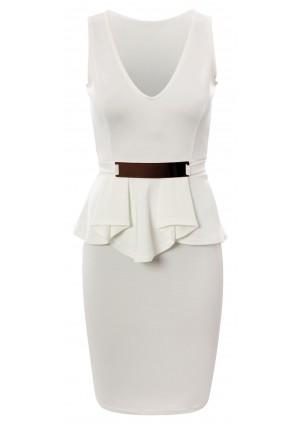 Weißes Etui Abendkleid -